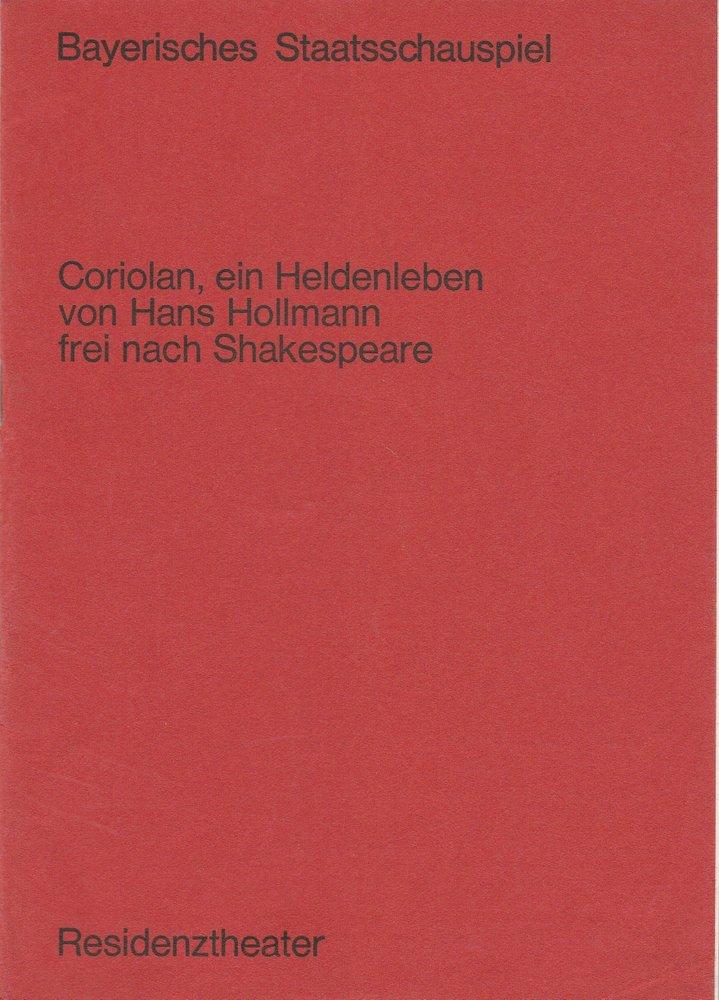 Programmheft Coriolan, ein Heldenleben Hans Hollmann Residenztheater 1970