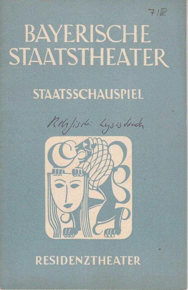 Programmheft Uraufführung Rehfisch Lysistrata Residenztheater 1952