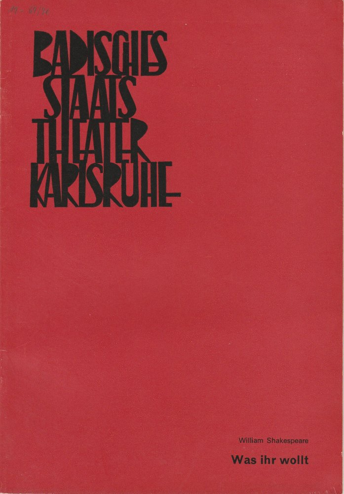 Programmheft  Was ihr Wollt Shakespeare Staatstheater Karlsruhe 1970