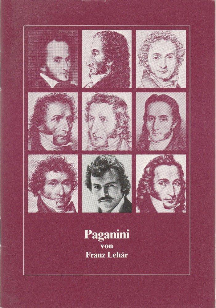 Programmheft PAGANINI Operette von Franz Lehar Bielefeld 1982