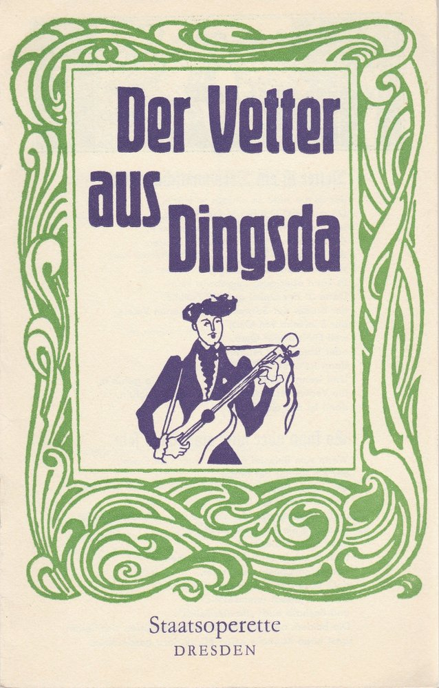Programmheft Eduard Künneke Der Vetter aus Dingsda Staatsoperette Dresden 1975