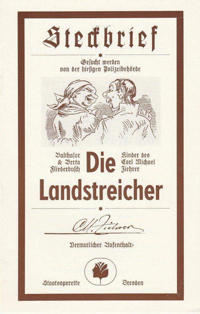Programmheft DIE LANDSTREICHER Staatsoperette Dresden 1985