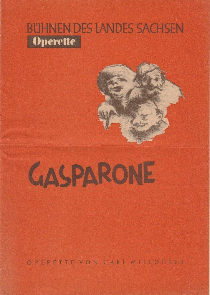 Programmheft Carl Millöcker GASPARONE Bühnen des Landes Sachsen 1950