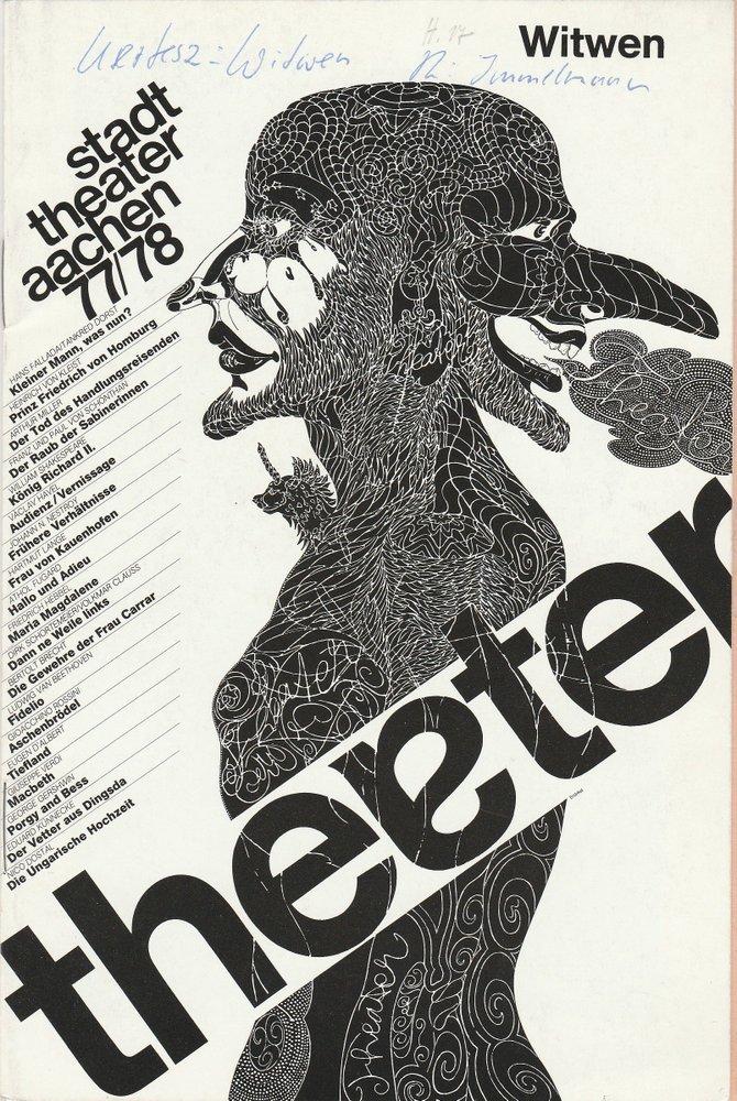 Programmheft WITWEN von Akos Kertesz Stadttheater Aachen 1978