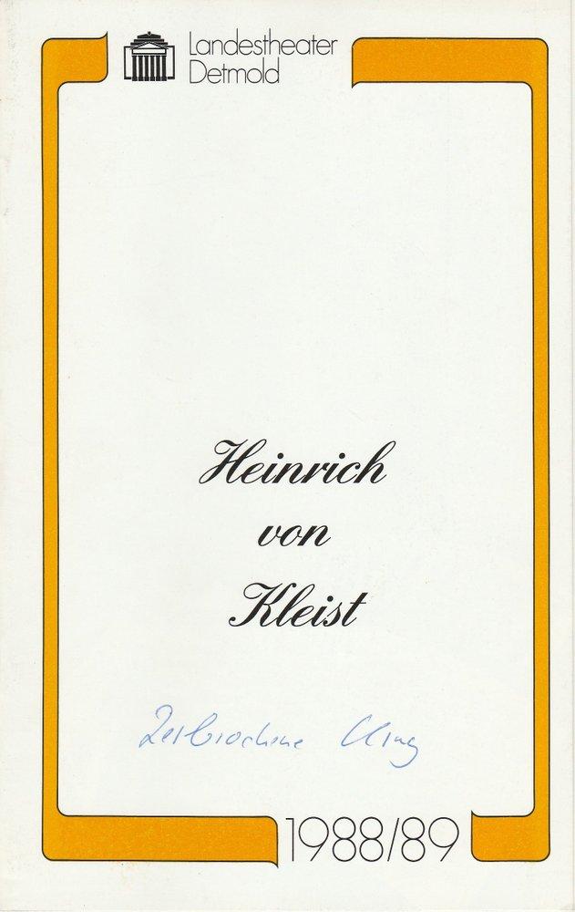 Programmheft Kleist Der zerbrochne Krug Landestheater Detmold 1988