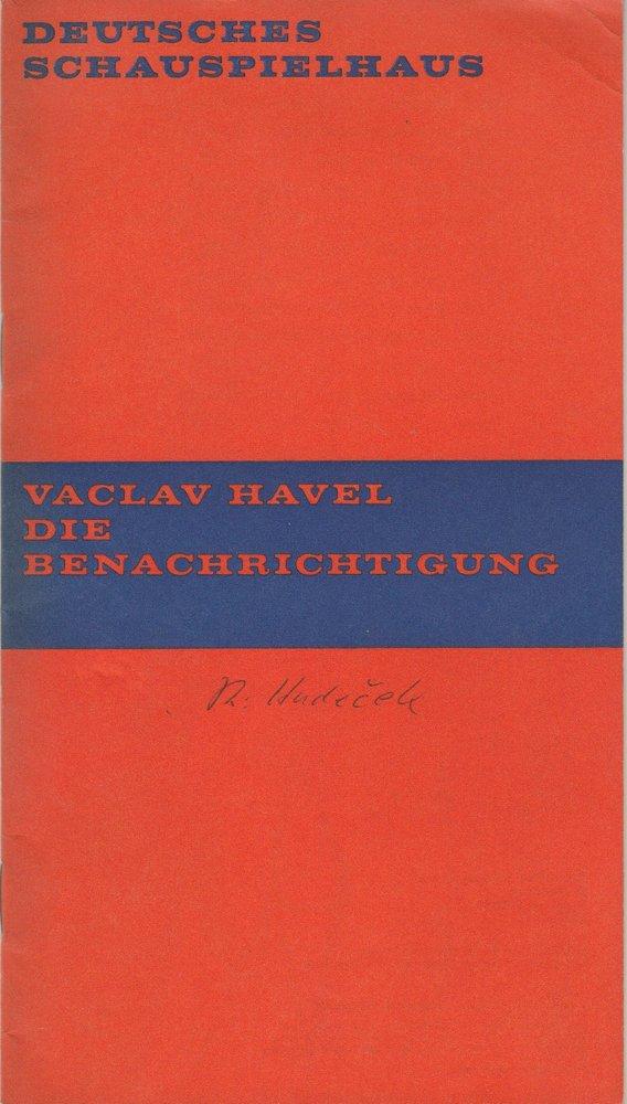 Programmheft Vaclav Havel DIE BENACHRICHTIGUNG Deutsches Schauspielhaus 1969