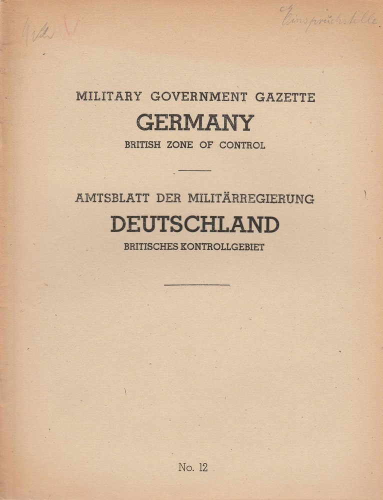 Military Government Gazette Germany British Zone of Control No. 12