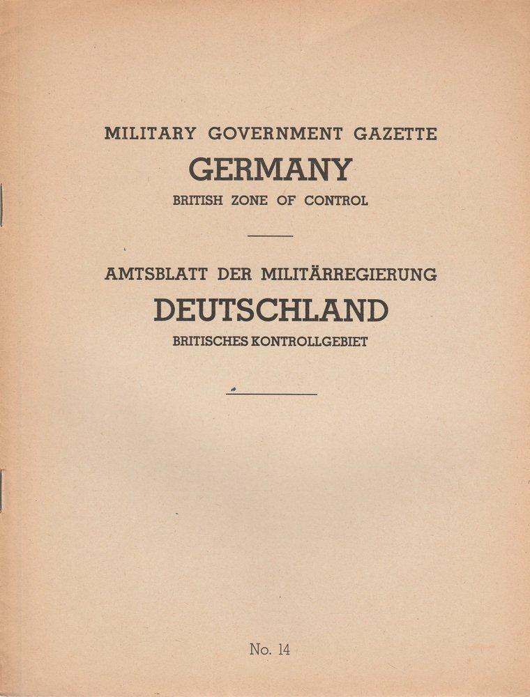 Military Government Gazette Germany British Zone of Control No. 14