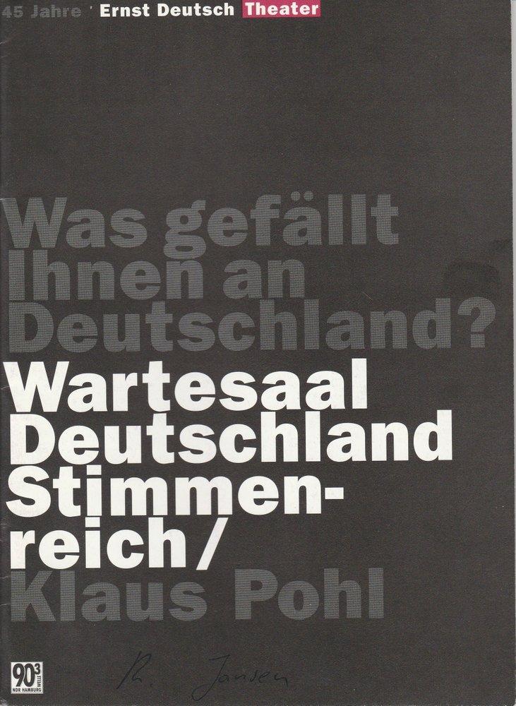 Programmheft Wartesaal Deutschland Stimmenreich Ernst-Deutsch-Theater 1996