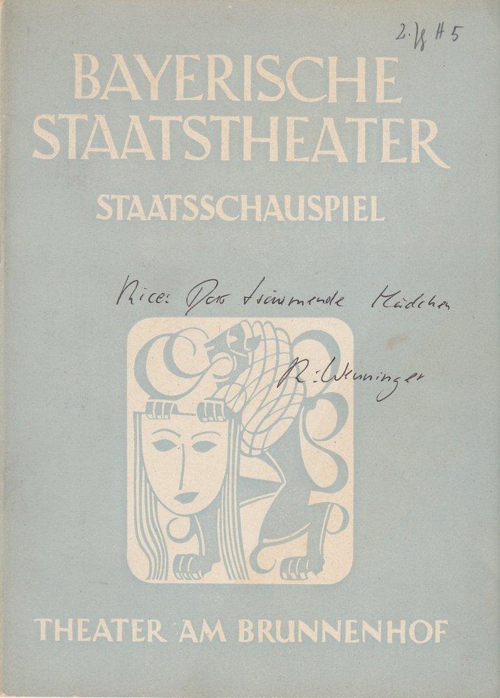 Programmheft Erstaufführung Das träumende Mädchen. Theater am Brunnenhof 1950