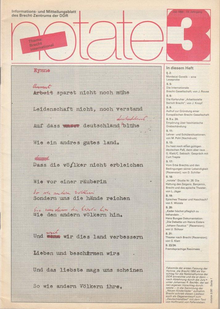 notate 3 Juli 1990 Mitteilungsblatt des Brecht-Zentrums der DDR
