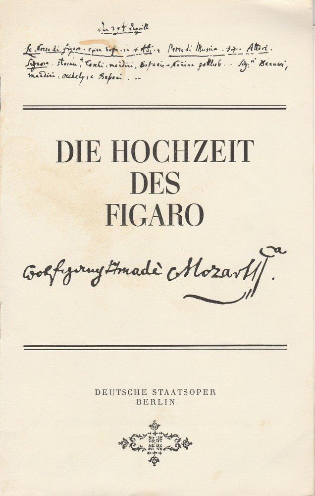 Programmheft Die Hochzeit des Figaro Deutsche Staatsoper Berlin, DDR 1972