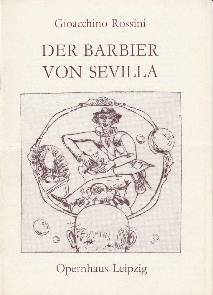 Programmheft Gioacchino Rossini DER BARBIER VON SEVILLA Opernhaus Leipzig 1976