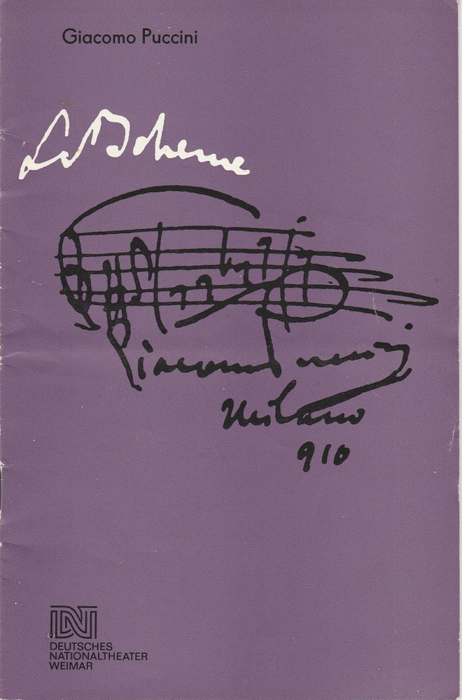 Programmheft Giacomo Puccini LA BOHEME Deutsches Nationaltheater Weimar 1985