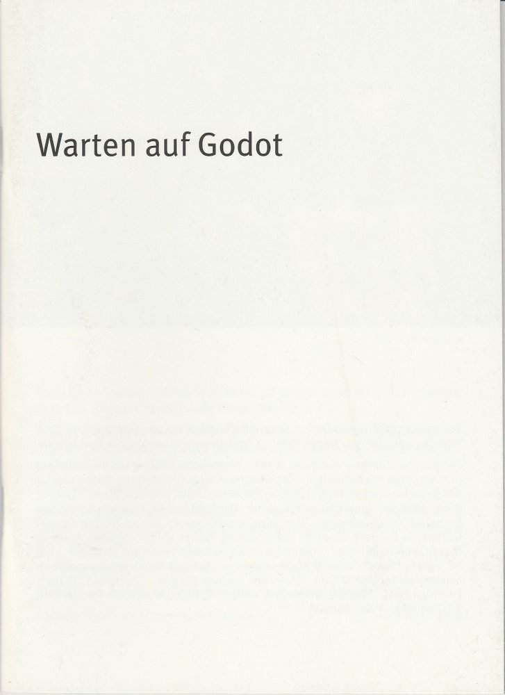 Programmheft Warten auf Godot von Samuel Beckett Residenz Theater 2004