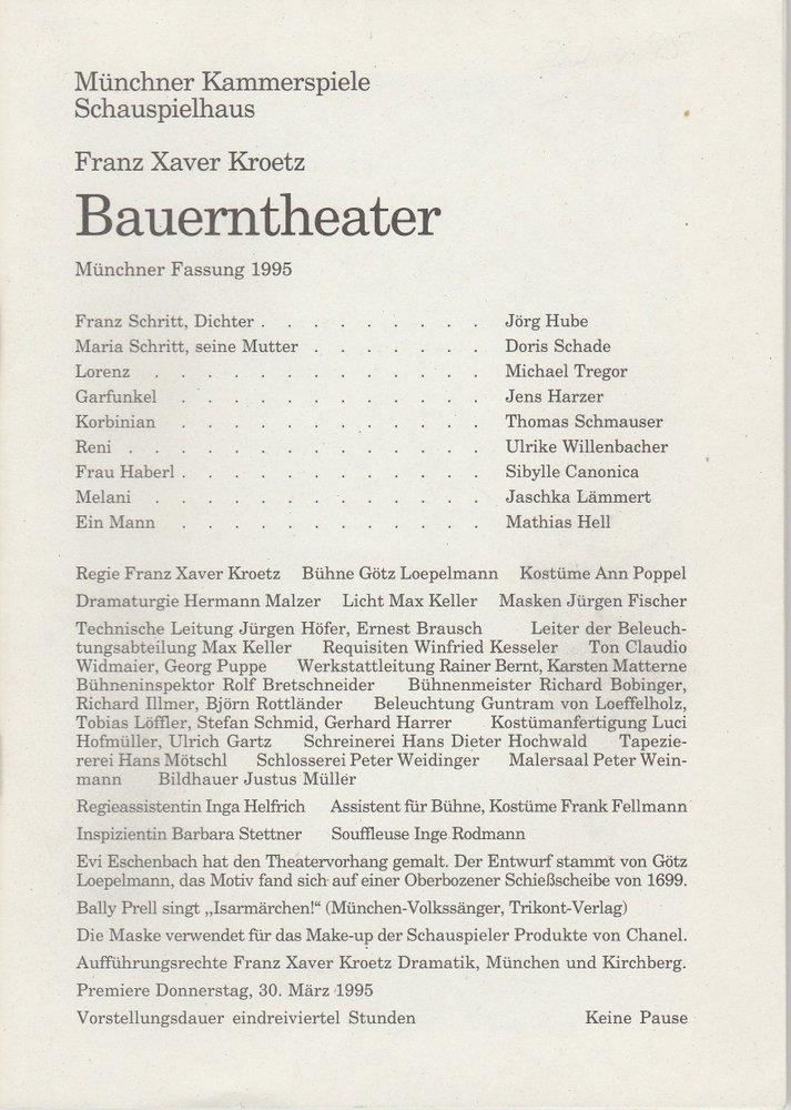 Programmheft Bauerntheater von Franz Xaver Kroetz Münchner Kammerspiele 1995