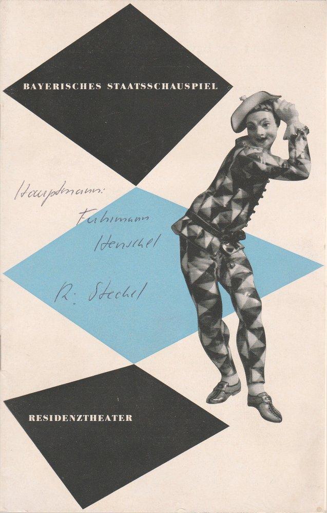 Programmheft FUHRMANN HENSCHEL Gerhard Hauptmann Residenztheater 1953