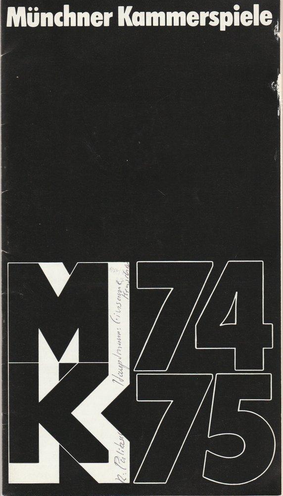 Programmheft Gerhart Hauptmann: EINSAME MENSCHEN Münchner Kammerspiele 1975