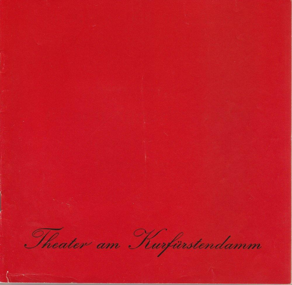 Programmheft CHAMPAGNERKOMÖDIE von Samuel Taylor Theater am Kurfürstendamm 1980
