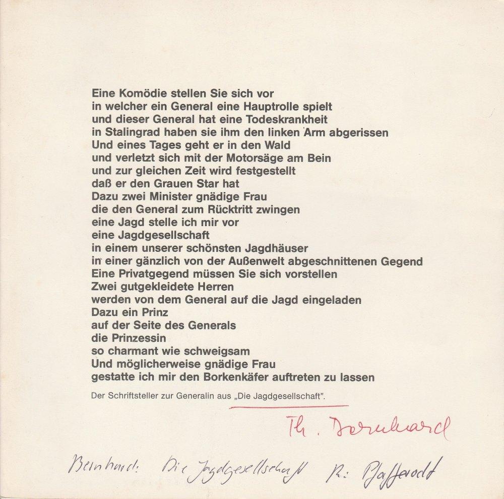 Programmheft DIE JAGDGESELLSCHAFT von Thomas Bernhard Hannover 1984
