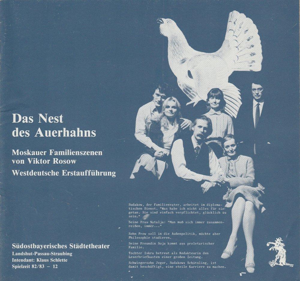 Programmheft Das Nest des Auerhahns von Viktor Rosow Landshut 1983
