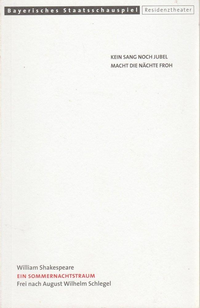 Programmheft Ein Sommernachtstraum von William Shakespeare Residenztheater 2001
