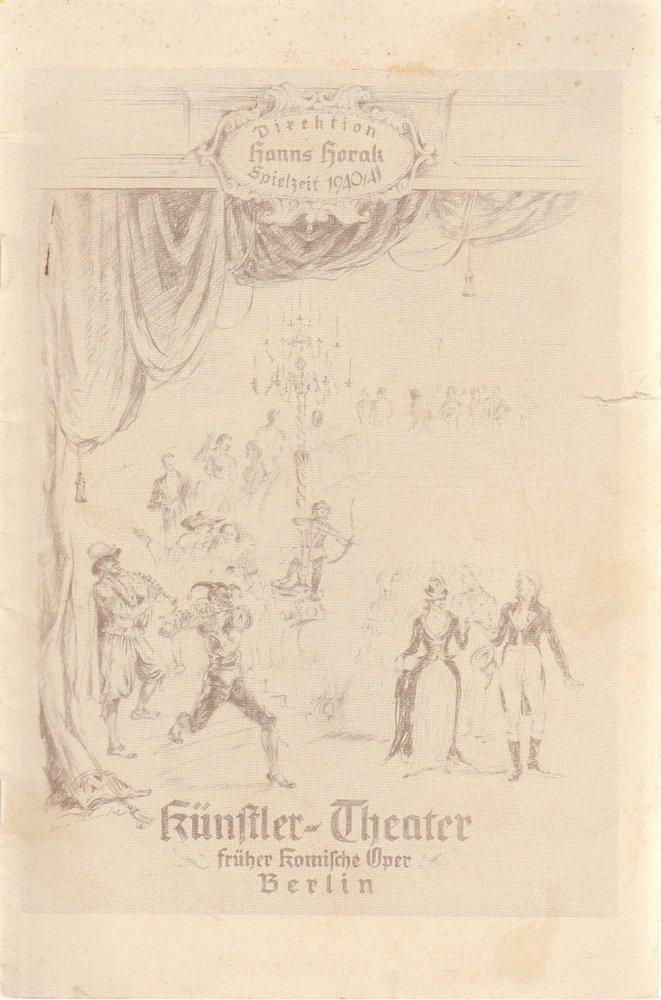 Programmheft Die sechste Frau von Max C. Feiler Künstlertheater Berlin 1940