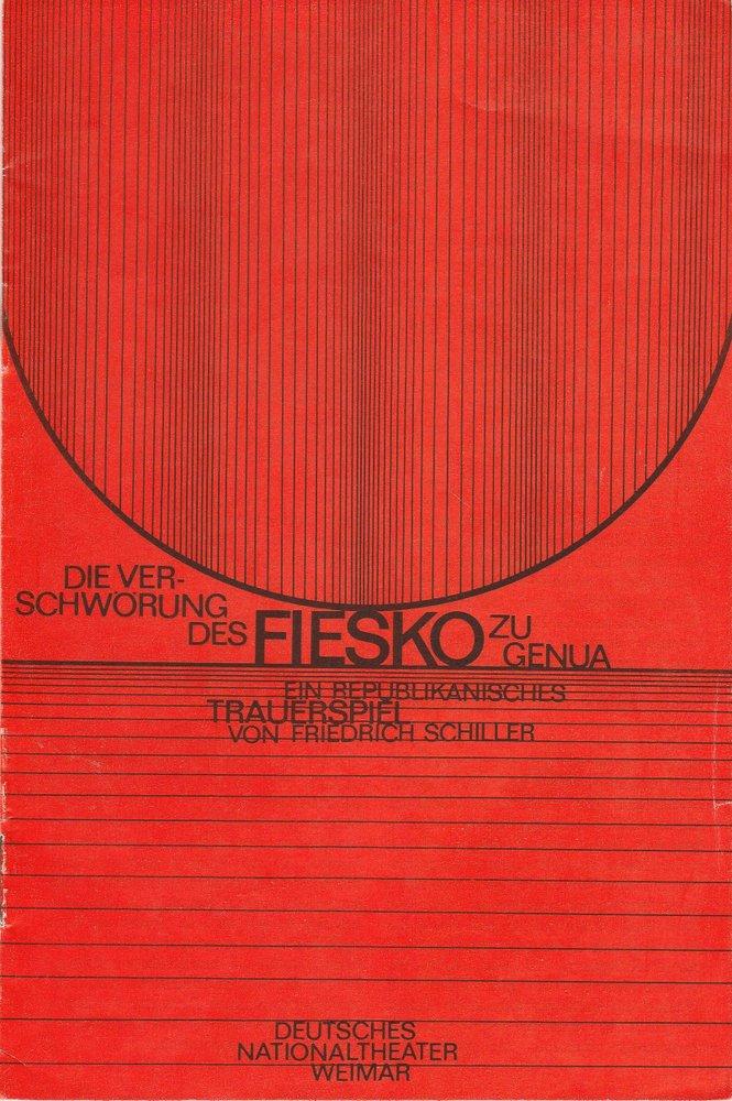 Programmheft Schiller: Die Verschwörung des Fiesko zu Genua Weimar 1980