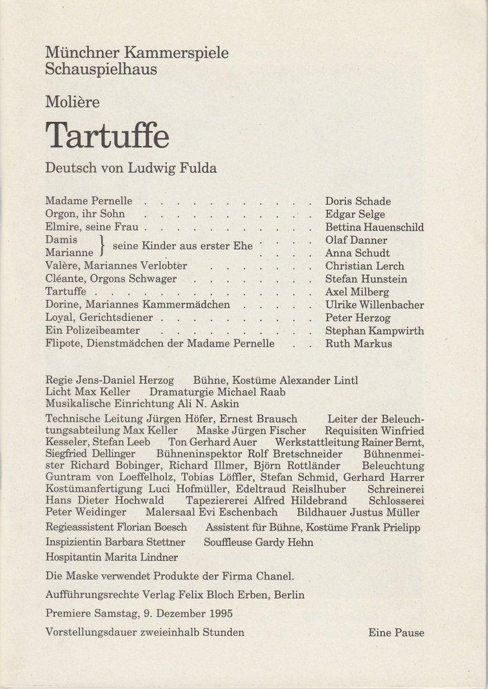 Programmheft Tartuffe von Moliere Münchner Kammerspiele 1995