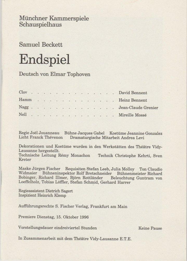 Programmheft ENDSPIEL von Samuel Beckett Münchner Kammerspiele 1996