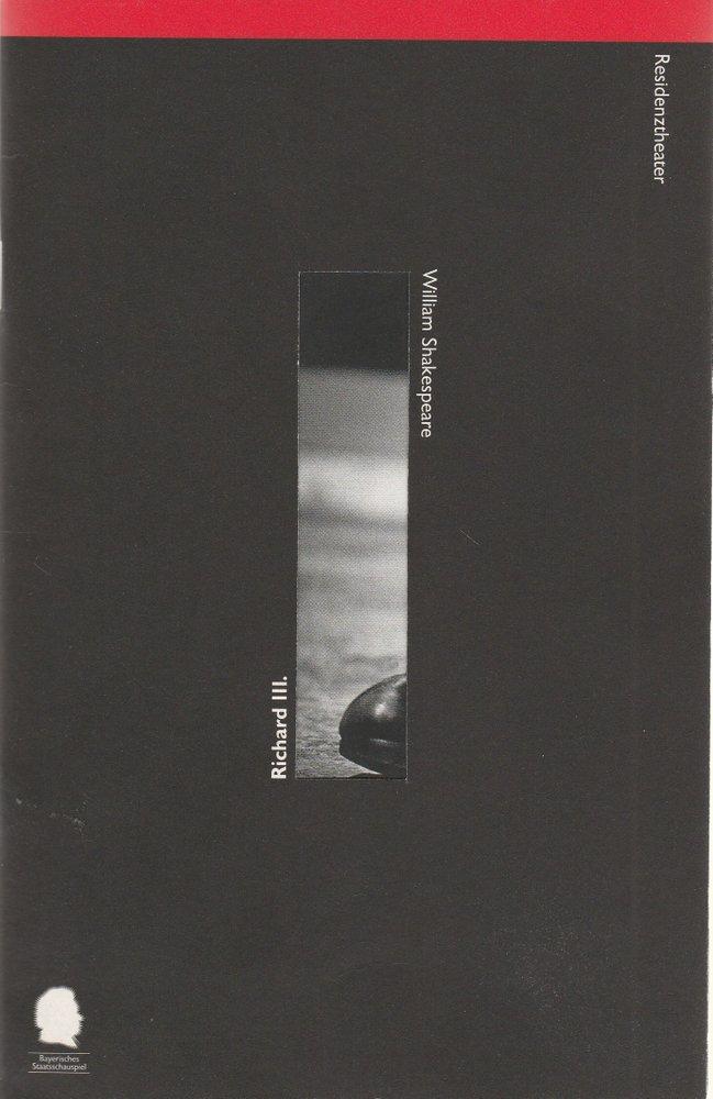 Programmheft Richard III. von William Shakespeare Residenztheater 1996