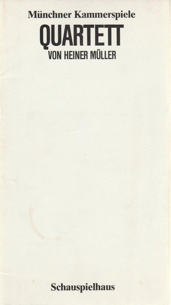Programmheft QUARTETT von Heiner Müller Münchner Kammerspiele 1983