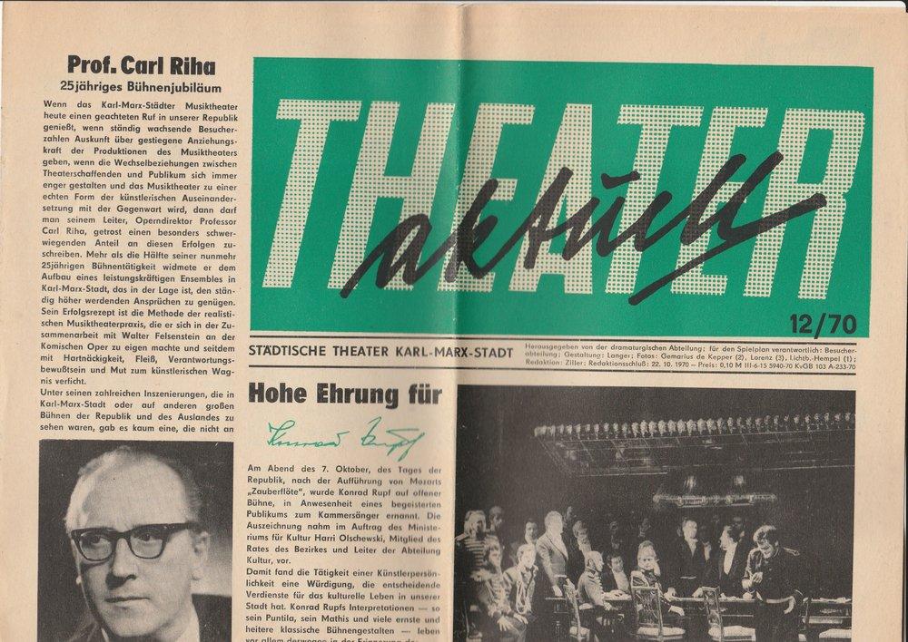 Theater aktuell. Heft 12 / 70 Städtische Theater Karl-Marx-Stadt