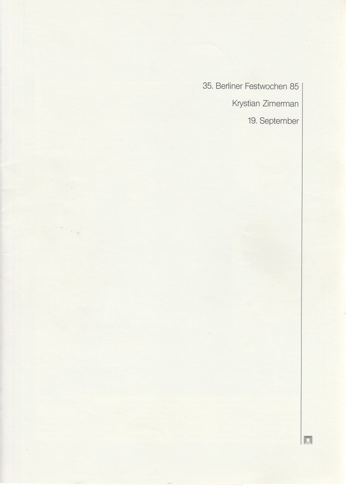 Programmheft Krystian Zimerman 19. September 35. Berliner Festwochen 1985