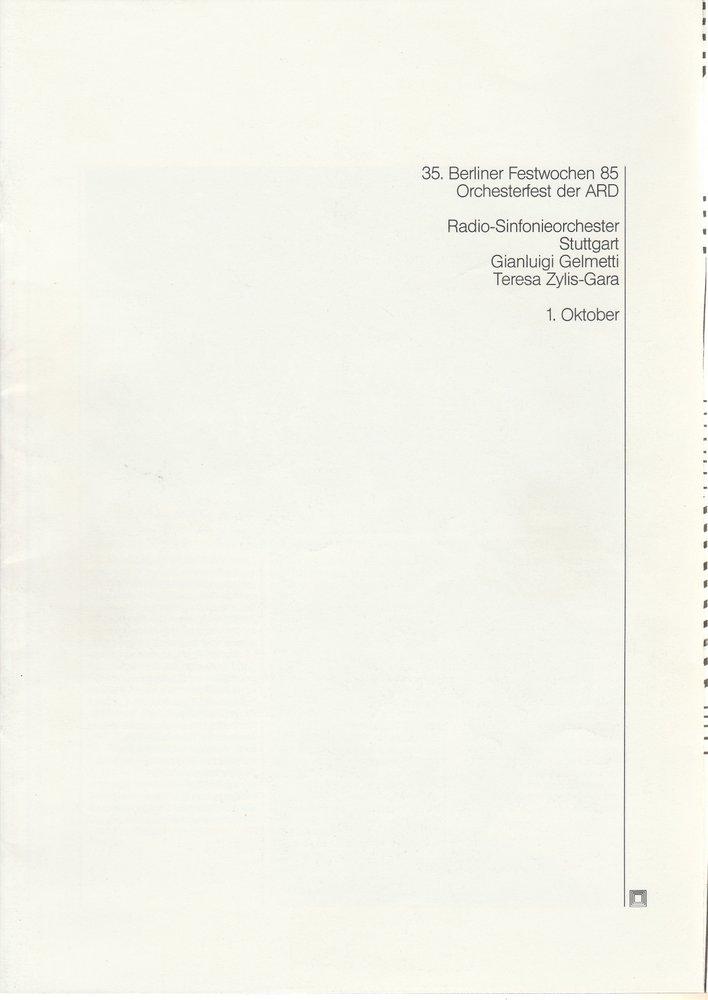 Programmheft 1. Oktober 35. Berliner Festwochen 1985