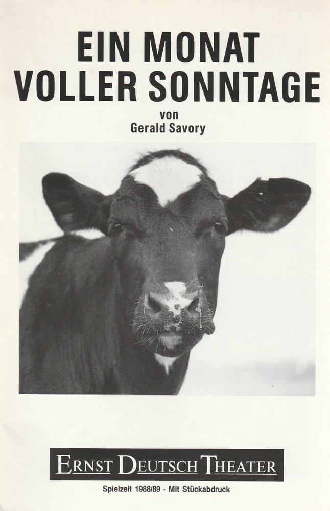 Programmheft Ein Monat voller Sonntage Ernst Deutsch Theater 1989