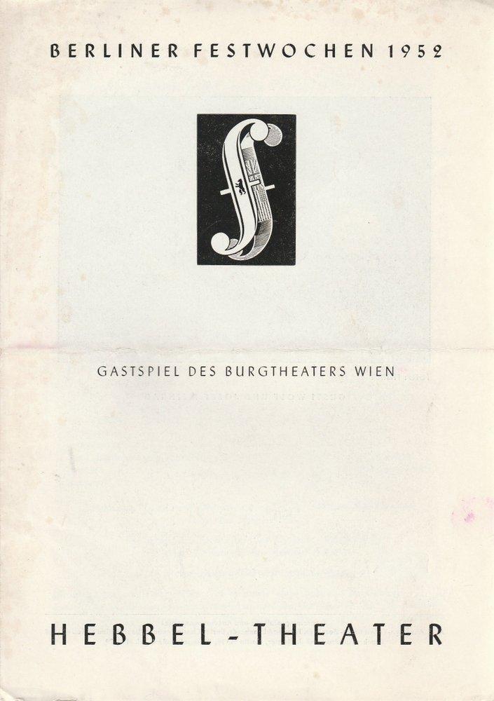 Nestroy: Der Färber und sein Zwillingsbruder Berliner Festwochen 1952