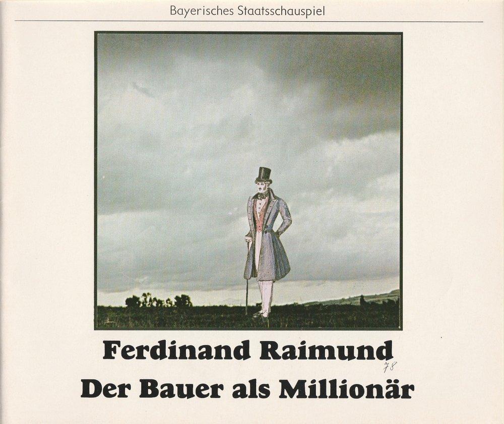 Programmheft Der Bauer als Millionär Bayerisches Staatsschauspiel 1978