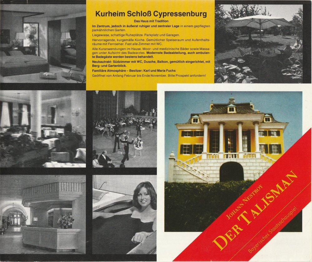 Programmheft Johann Nestroy DER TALISMAN Bayerisches Staatsschauspiel 1981
