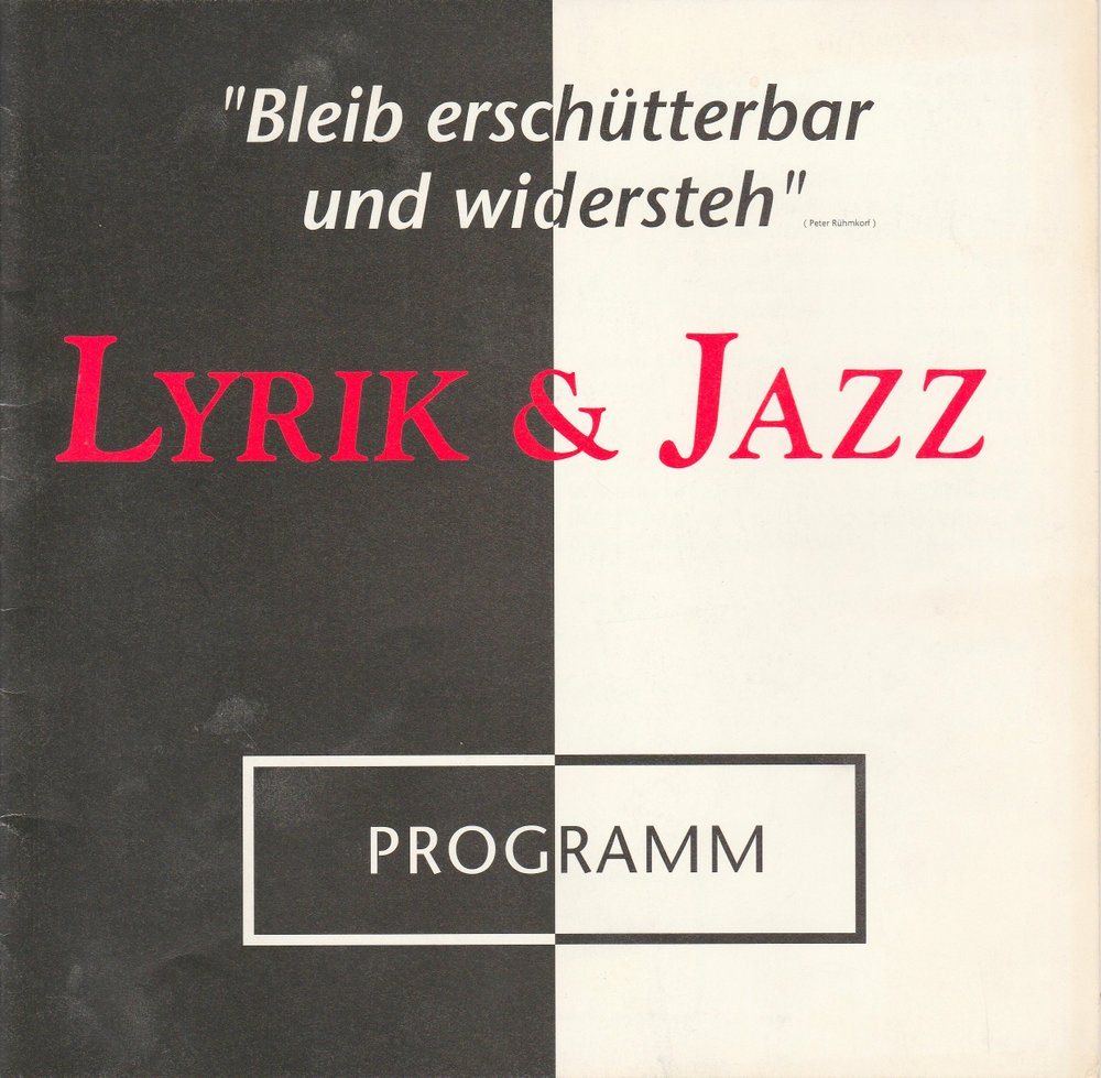 Programmheft LYRIK & JAZZ Tournee Berlin ( DDR ) - Frankfurt - Stuttgart