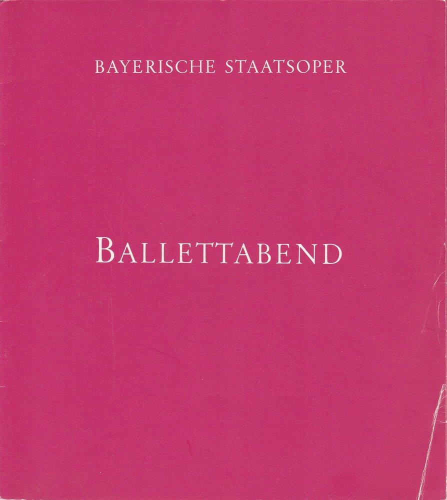 Programmheft BALLETTABEND Bayerische Staatsoper 6. November 1980