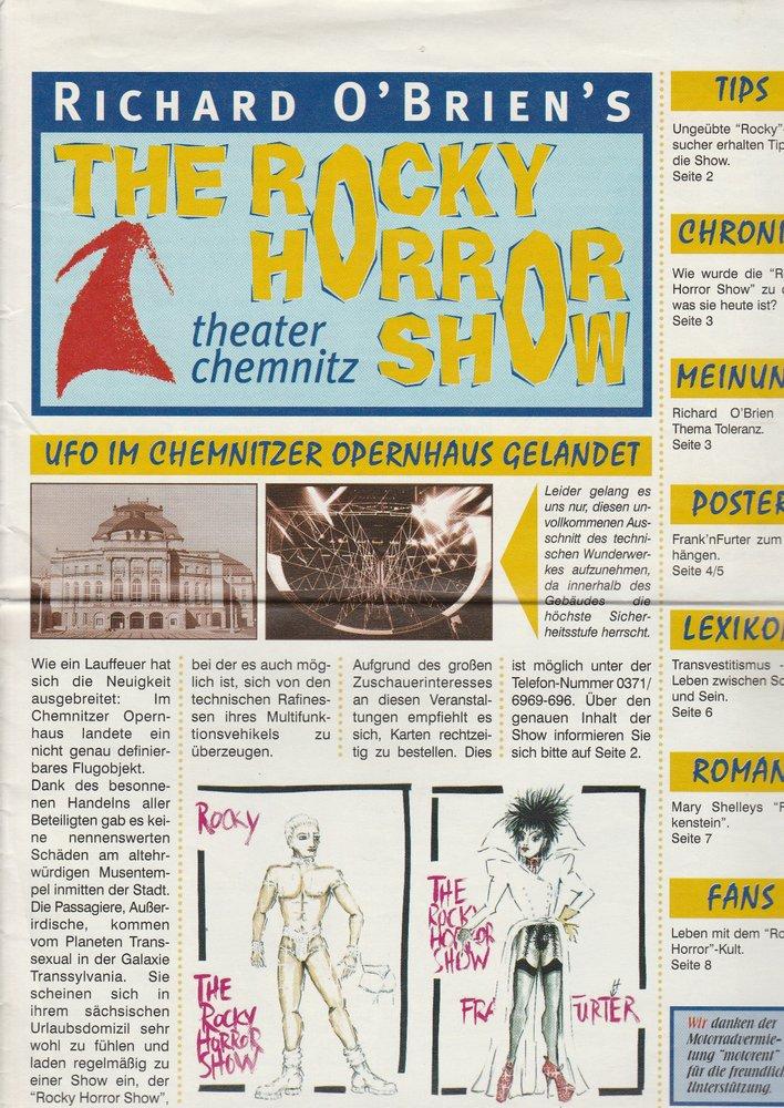 Programmheft Richard O'Brien´s THE ROCKY HORROR SHOW Chemnitz 1988