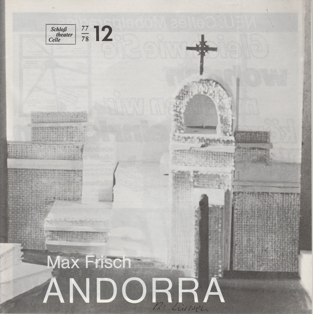 Programmheft ANDORRA. Stück von Max Frisch Schloßtheater Celle 1978
