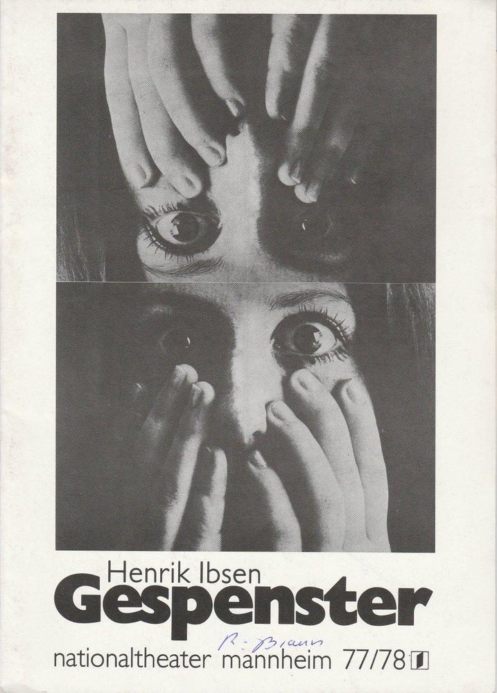 Programmheft GESPENSTER von Henrik Ibsen Nationaltheater Mannheim 1978