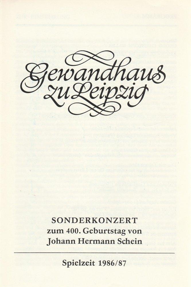 Programmheft SONDERKONZERT zum 400. Geburtstag von Johann Hermann Schein 1986