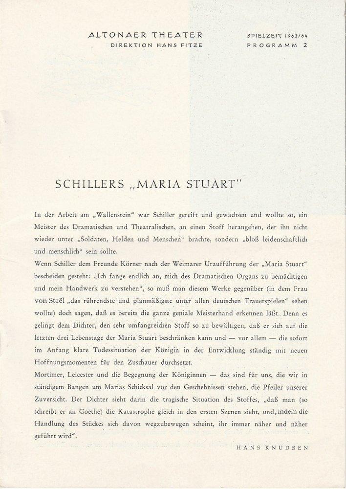 Programmheft MARIA STUART von Friedrich Schiller Altonaer Theater 1963