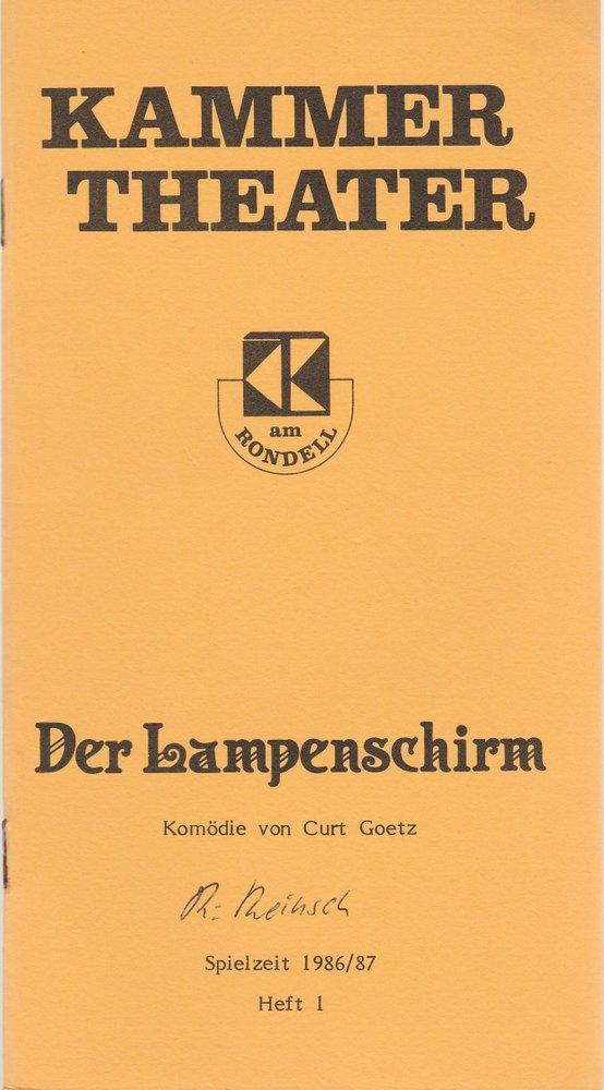 Programmheft DER LAMPENSCHIRM von Curt Goetz Kammertheater Karlsruhe 1986