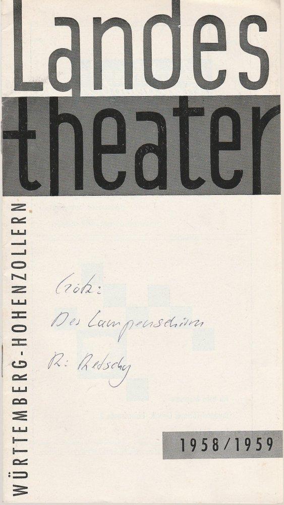 Programmheft DER LAMPENSCHIRM. Kein Stück von Curt Goetz Tübingen 1959