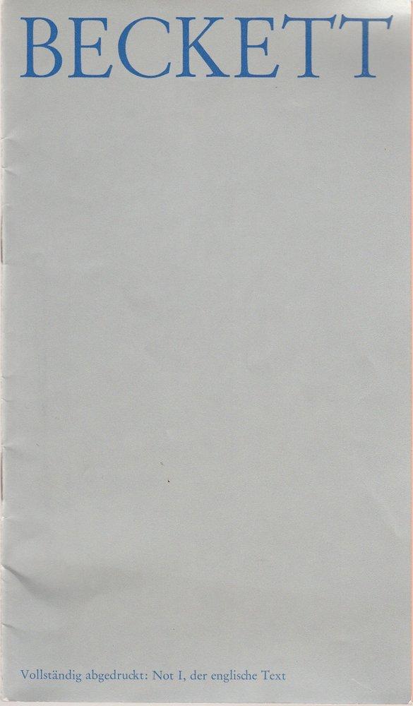 Programmheft NICHT ICH von Samuel Beckett Schiller-Theater Werkstatt 1973