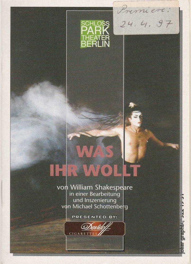 Programmheft William Shakespeare WAS IHR WOLLT Schloßpark-Theater Berlin 1997